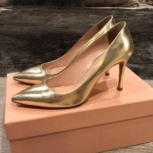 Shoes - Miu Miu Gold Metallic Pumps with Glitter Sole